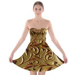 Abstract Gold Art Pattern Strapless Bra Top Dress