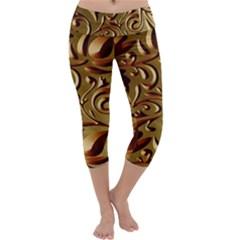 Abstract Gold Art Pattern Capri Yoga Leggings