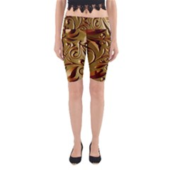 Abstract Gold Art Pattern Yoga Cropped Leggings