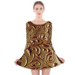 Abstract Gold Art Pattern Long Sleeve Velvet Skater Dress