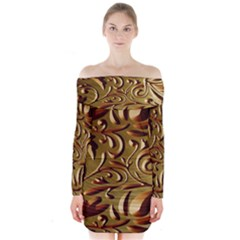 Abstract Gold Art Pattern Long Sleeve Off Shoulder Dress