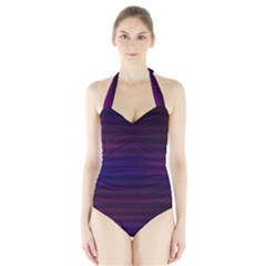 Abstract Lines Pattern Fractal Halter Swimsuit