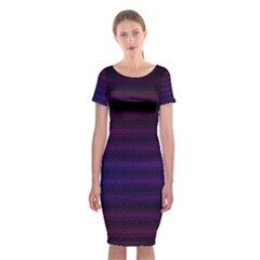 Abstract Lines Pattern Fractal Classic Short Sleeve Midi Dress