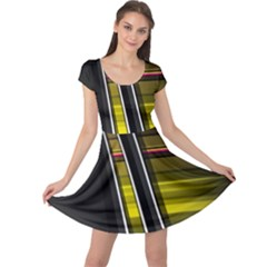 Abstract Multicolor Vectors Flow Lines Graphics Cap Sleeve Dresses