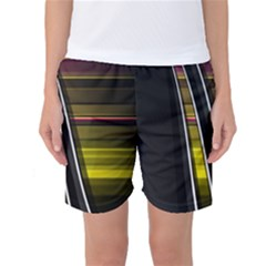 Abstract Multicolor Vectors Flow Lines Graphics Women s Basketball Shorts