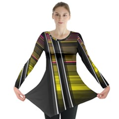 Abstract Multicolor Vectors Flow Lines Graphics Long Sleeve Tunic