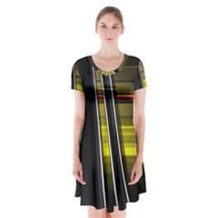 Abstract Multicolor Vectors Flow Lines Graphics Short Sleeve V-neck Flare Dress