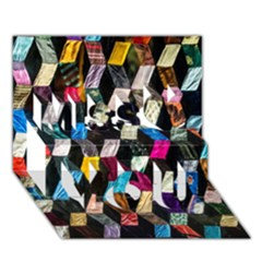 Abstract Multicolor Cubes 3d Quilt Fabric Miss You 3D Greeting Card (7x5)
