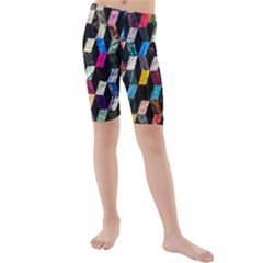 Abstract Multicolor Cubes 3d Quilt Fabric Kids  Mid Length Swim Shorts