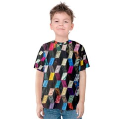 Abstract Multicolor Cubes 3d Quilt Fabric Kids  Cotton Tee