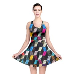 Abstract Multicolor Cubes 3d Quilt Fabric Reversible Skater Dress