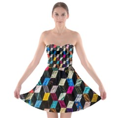 Abstract Multicolor Cubes 3d Quilt Fabric Strapless Bra Top Dress