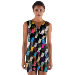 Abstract Multicolor Cubes 3d Quilt Fabric Wrap Front Bodycon Dress