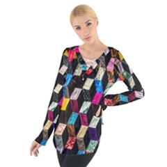 Abstract Multicolor Cubes 3d Quilt Fabric Women s Tie Up Tee