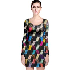 Abstract Multicolor Cubes 3d Quilt Fabric Long Sleeve Velvet Bodycon Dress