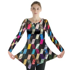 Abstract Multicolor Cubes 3d Quilt Fabric Long Sleeve Tunic