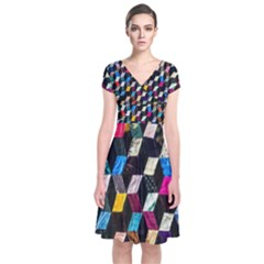 Abstract Multicolor Cubes 3d Quilt Fabric Short Sleeve Front Wrap Dress
