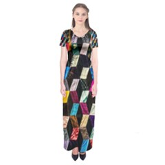 Abstract Multicolor Cubes 3d Quilt Fabric Short Sleeve Maxi Dress