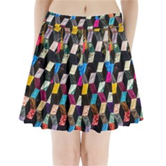 Abstract Multicolor Cubes 3d Quilt Fabric Pleated Mini Skirt