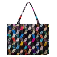 Abstract Multicolor Cubes 3d Quilt Fabric Medium Zipper Tote Bag