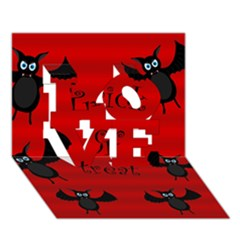 Halloween bats  LOVE 3D Greeting Card (7x5)