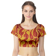 Abstract Pattern Short Sleeve Crop Top (Tight Fit)