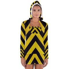 Construction Hazard Stripes Women s Long Sleeve Hooded T-shirt