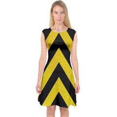 Construction Hazard Stripes Capsleeve Midi Dress