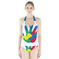 Creativity Painted Hand Copy Halter Swimsuit