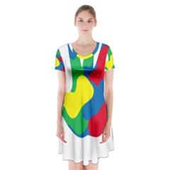 Creativity Painted Hand Copy Short Sleeve V-neck Flare Dress