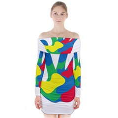 Creativity Painted Hand Copy Long Sleeve Off Shoulder Dress