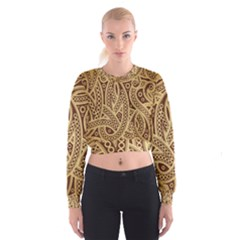 European Fine Pattern Women s Cropped Sweatshirt