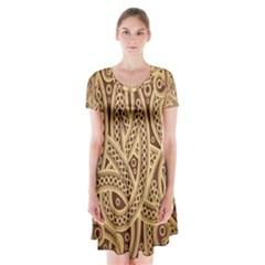European Fine Pattern Short Sleeve V Neck Flare Dress