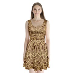 European Fine Pattern Split Back Mini Dress