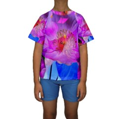Abstract Poppy Flowers Kids  Short Sleeve Swimwear