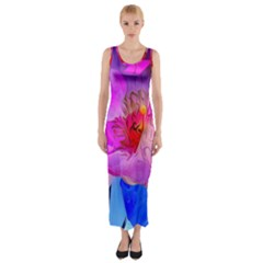Abstract Poppy Flowers Fitted Maxi Dress