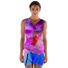 Abstract Poppy Flowers Wrap Front Bodycon Dress