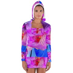 Abstract Poppy Flowers Women s Long Sleeve Hooded T-shirt
