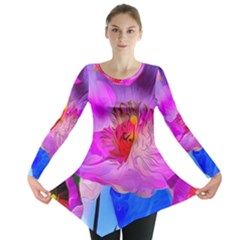 Abstract Poppy Flowers Long Sleeve Tunic