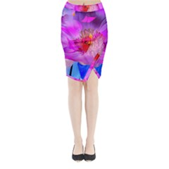 Abstract Poppy Flowers Midi Wrap Pencil Skirt