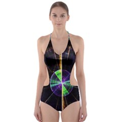 Abstract Radar Cut-Out One Piece Swimsuit