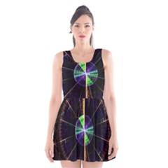 Abstract Radar Scoop Neck Skater Dress