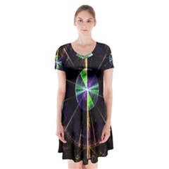 Abstract Radar Short Sleeve V-neck Flare Dress