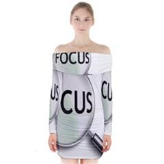 Focus Long Sleeve Off Shoulder Dress