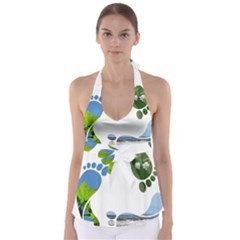 Footprint Recycle Sign Babydoll Tankini Top