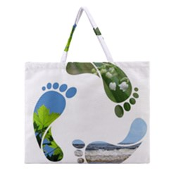 Footprint Recycle Sign Zipper Large Tote Bag