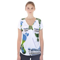 Footprint Recycle Sign Short Sleeve Front Detail Top