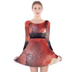 Abstract Spectrum Long Sleeve Velvet Skater Dress