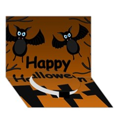 Happy Halloween - bats on the cemetery Circle Bottom 3D Greeting Card (7x5)