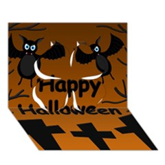 Happy Halloween - bats on the cemetery Clover 3D Greeting Card (7x5)